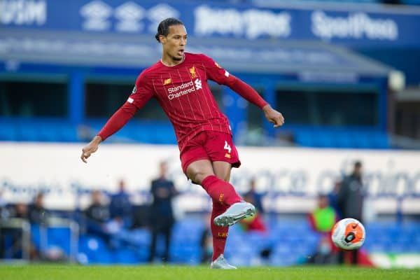 LIVERPOOL, ENGLAND - Sunday, June 21, 2019: Liverpool's Virgil van Dijk during the FA Premier League match between Everton FC and Liverpool FC, the 236th Merseyside Derby, at Goodison Park. The game was played behind closed doors due to the UK government's social distancing laws during the Coronavirus COVID-19 Pandemic. (Pic by David Rawcliffe/Propaganda)