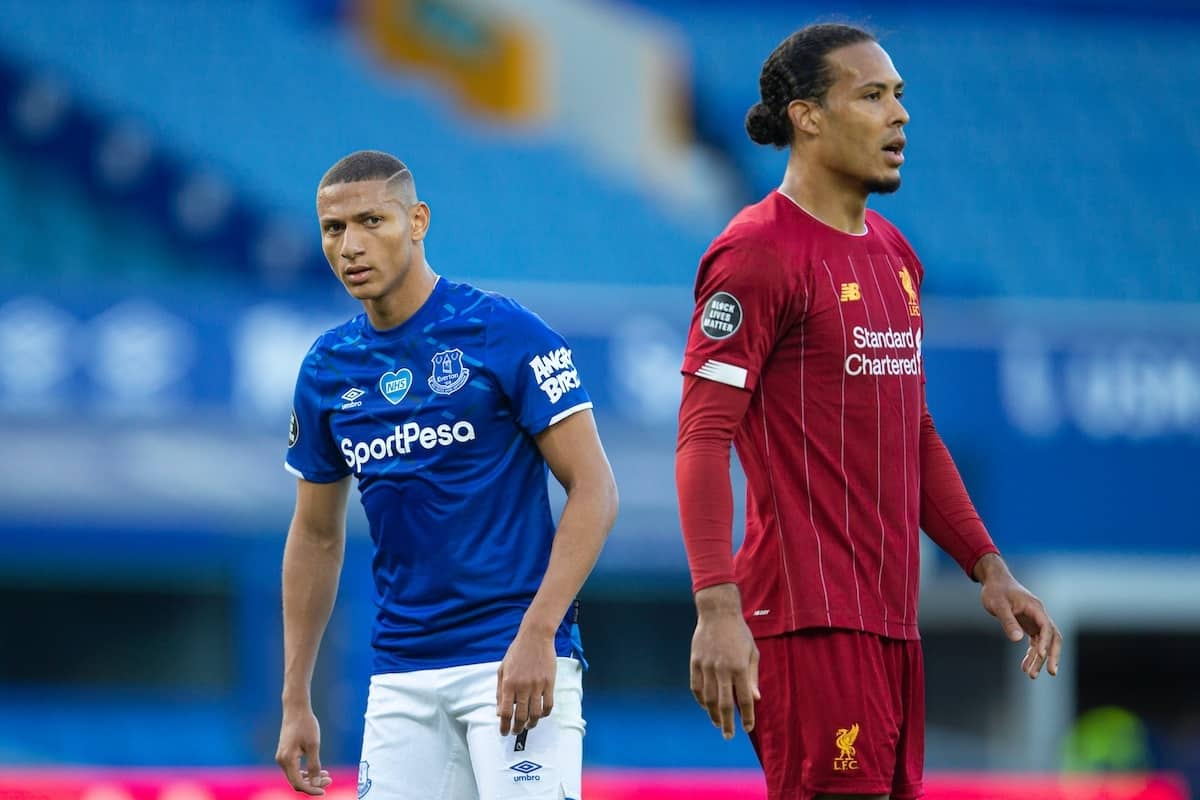 LIVERPOOL, ENGLAND - Sunday, June 21, 2019: Everton's Richarlison de Andrade (L) and Liverpool's Virgil van Dijk during the FA Premier League match between Everton FC and Liverpool FC, the 236th Merseyside Derby, at Goodison Park. The game was played behind closed doors due to the UK government's social distancing laws during the Coronavirus COVID-19 Pandemic. (Pic by David Rawcliffe/Propaganda)