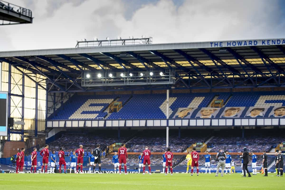 LIVERPOOL, ENGLAND - Sunday, June 21, 2019: Players stand for a moment's silence to remember the victims of the pandemic during the FA Premier League match between Everton FC and Liverpool FC, the 236th Merseyside Derby, at Goodison Park. The game was played behind closed doors due to the UK government's social distancing laws during the Coronavirus COVID-19 Pandemic. (Pic by David Rawcliffe/Propaganda)