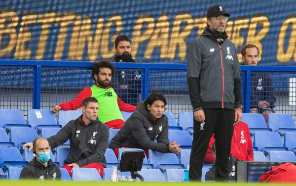 LIVERPOOL, ENGLAND - Sunday, June 21, 2019: Liverpool's unused substitute Mohamed Salah with players who were substituted James Milner and Takumi Minamino during the FA Premier League match between Everton FC and Liverpool FC, the 236th Merseyside Derby, at Goodison Park. The game was played behind closed doors due to the UK government's social distancing laws during the Coronavirus COVID-19 Pandemic. (Pic by David Rawcliffe/Propaganda)