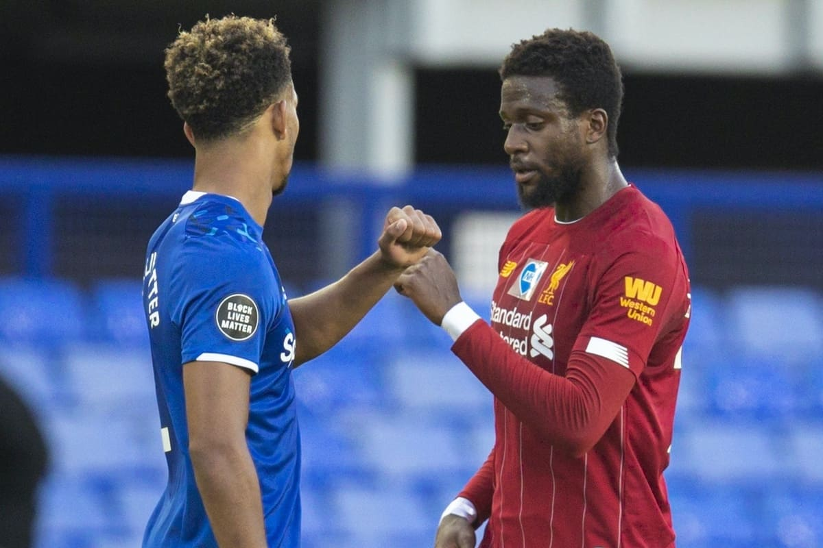 LIVERPOOL, ENGLAND - Sunday, June 21, 2019: Liverpool's Divock Origi and Everton's Mason Holgate after the FA Premier League match between Everton FC and Liverpool FC, the 236th Merseyside Derby, at Goodison Park. The game was played behind closed doors due to the UK government's social distancing laws during the Coronavirus COVID-19 Pandemic. (Pic by David Rawcliffe/Propaganda)