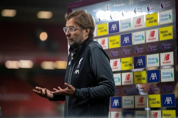 LIVERPOOL, ENGLAND - Wednesday, June 24, 2020: Liverpool's manager Jürgen Klopp is interviewed after the FA Premier League match between Liverpool FC and Crystal Palace FC at Anfield. Liverpool won 4-0. The game was played behind closed doors due to the UK government's social distancing laws during the Coronavirus COVID-19 Pandemic. (Pic by David Rawcliffe/Propaganda)