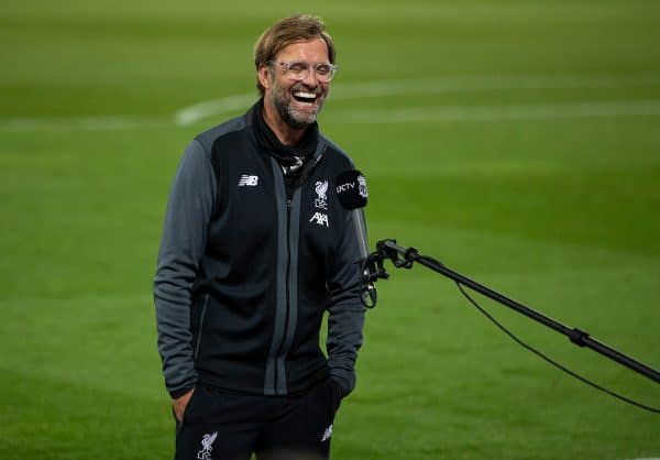 LIVERPOOL, ENGLAND - Wednesday, June 24, 2020: Liverpool's manager Jürgen Klopp is interviewed by LFC.TV after the FA Premier League match between Liverpool FC and Crystal Palace FC at Anfield. Liverpool won 4-0. The game was played behind closed doors due to the UK government's social distancing laws during the Coronavirus COVID-19 Pandemic. (Pic by David Rawcliffe/Propaganda)
