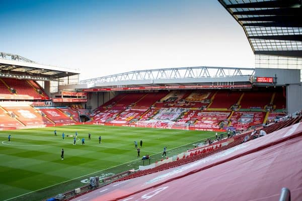 LIVERPOOL, ENGLAND - Wednesday, June 24, 2020: Crystal Palace players inspect the pitch in an empty stadium before the FA Premier League match between Liverpool FC and Crystal Palace FC at Anfield. The game was played behind closed doors due to the UK government's social distancing laws during the Coronavirus COVID-19 Pandemic. (Pic by David Rawcliffe/Propaganda)