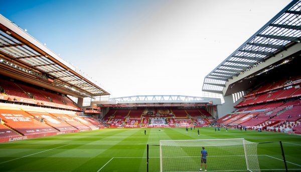 LIVERPOOL, ENGLAND - Wednesday, June 24, 2020: An empty stadium before the FA Premier League match between Liverpool FC and Crystal Palace FC at Anfield. The game was played behind closed doors due to the UK government's social distancing laws during the Coronavirus COVID-19 Pandemic. (Pic by David Rawcliffe/Propaganda)