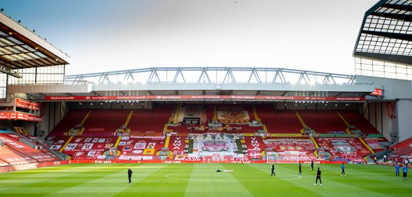 LIVERPOOL, ENGLAND - Wednesday, June 24, 2020: Liverpool supporters' banners on the Spion Kop before the FA Premier League match between Liverpool FC and Crystal Palace FC at Anfield. The game was played behind closed doors due to the UK government's social distancing laws during the Coronavirus COVID-19 Pandemic. (Pic by David Rawcliffe/Propaganda)