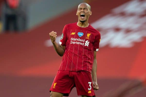 LIVERPOOL, ENGLAND - Wednesday, June 24, 2020: Liverpool's Fabio Henrique Tavares 'Fabinho' celebrates scoring the third goal during the FA Premier League match between Liverpool FC and Crystal Palace FC at Anfield. The game was played behind closed doors due to the UK government's social distancing laws during the Coronavirus COVID-19 Pandemic. (Pic by David Rawcliffe/Propaganda)