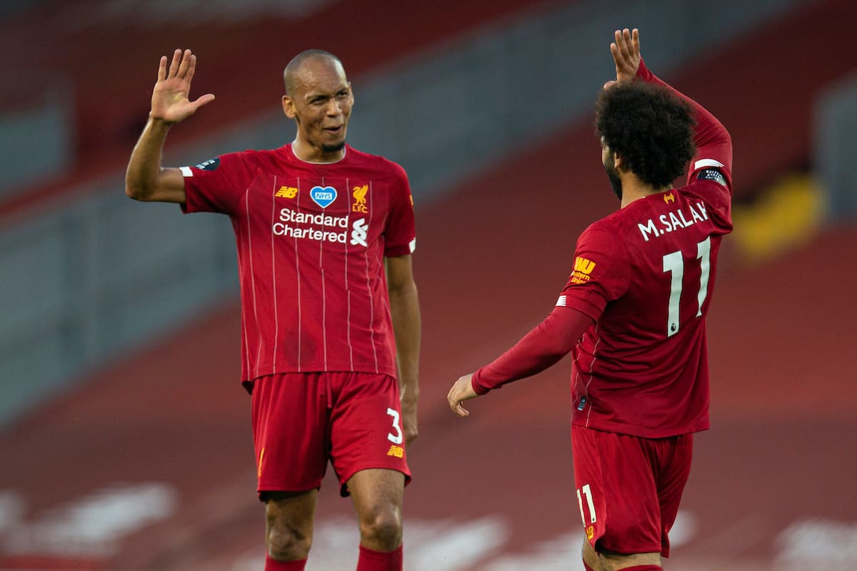 LIVERPOOL, ENGLAND - Wednesday, June 24, 2020: Liverpool's Fabio Henrique Tavares 'Fabinho' (L) celebrates scoring the third goal with team-mate Mohamed Salah (R) during the FA Premier League match between Liverpool FC and Crystal Palace FC at Anfield. The game was played behind closed doors due to the UK government's social distancing laws during the Coronavirus COVID-19 Pandemic. (Pic by David Rawcliffe/Propaganda)