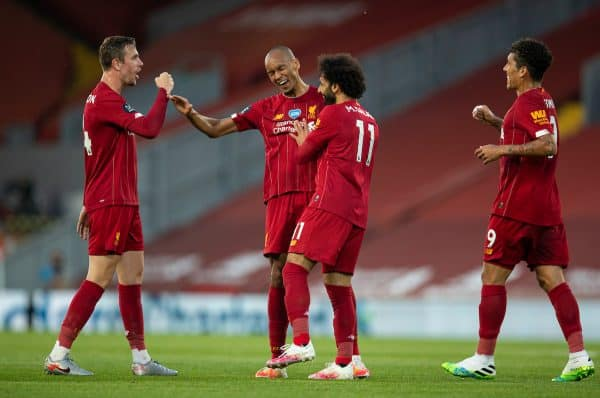 LIVERPOOL, ENGLAND - Wednesday, June 24, 2020: Liverpool's Fabio Henrique Tavares 'Fabinho' (C) celebrates scoring the third goal with team-mates captain Jordan Henderson (L) and Mohamed Salah (R) during the FA Premier League match between Liverpool FC and Crystal Palace FC at Anfield. The game was played behind closed doors due to the UK government's social distancing laws during the Coronavirus COVID-19 Pandemic. (Pic by David Rawcliffe/Propaganda)