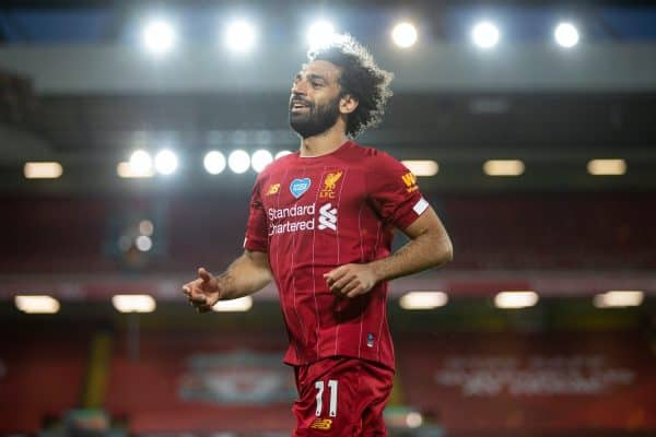 LIVERPOOL, ENGLAND - Wednesday, June 24, 2020: Liverpool's Mohamed Salah during the FA Premier League match between Liverpool FC and Crystal Palace FC at Anfield. The game was played behind closed doors due to the UK government's social distancing laws during the Coronavirus COVID-19 Pandemic. (Pic by David Rawcliffe/Propaganda)