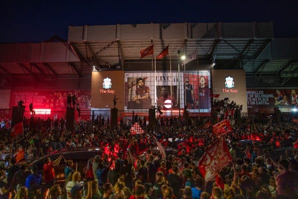 LIVERPOOL, ENGLAND - Thursday, June 25, 2020: Liverpool supporters celebrate at Anfield after their side were crowned Premier League Champions following Manchester City's defeat by Chelsea. The supporters have waited 30 years for this their 19th Championship title. (Pic by David Rawcliffe/Propaganda)