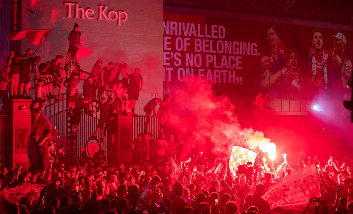 LIVERPOOL, ENGLAND - Thursday, June 25, 2020: Liverpool supporters congregate outside the famous Spion Kop at Anfield as they celebrate after their side were crowned Premier League Champions following Manchester City's defeat by Chelsea. The supporters have waited 30 years for this their 19th Championship title. (Pic by David Rawcliffe/Propaganda)