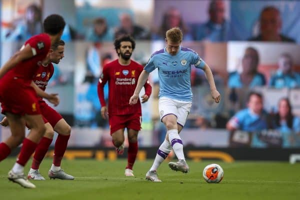 MANCHESTER, ENGLAND - Thursday, July 2, 2020: Manchester City's Kevin De Bruyne during the FA Premier League match between Manchester City FC and Liverpool FC at the City of Manchester Stadium. The game was played behind closed doors due to the UK government's social distancing laws during the Coronavirus COVID-19 Pandemic. This was Liverpool's first game as Premier League 2019/20 Champions. (Pic by Propaganda)