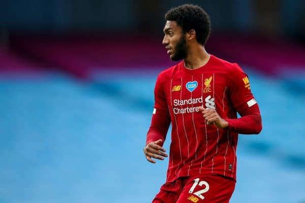 MANCHESTER, ENGLAND - Thursday, July 2, 2020: Liverpool's Joe Gomez during the FA Premier League match between Manchester City FC and Liverpool FC at the City of Manchester Stadium. The game was played behind closed doors due to the UK government's social distancing laws during the Coronavirus COVID-19 Pandemic. This was Liverpool's first game as Premier League 2019/20 Champions. (Pic by Propaganda)
