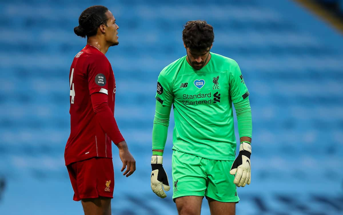 MANCHESTER, ENGLAND - Thursday, July 2, 2020: Liverpool's goalkeeper Alisson Becker looks dejected as Manchester City score the third goal during the FA Premier League match between Manchester City FC and Liverpool FC at the City of Manchester Stadium. The game was played behind closed doors due to the UK government's social distancing laws during the Coronavirus COVID-19 Pandemic. This was Liverpool's first game as Premier League 2019/20 Champions. (Pic by Propaganda)