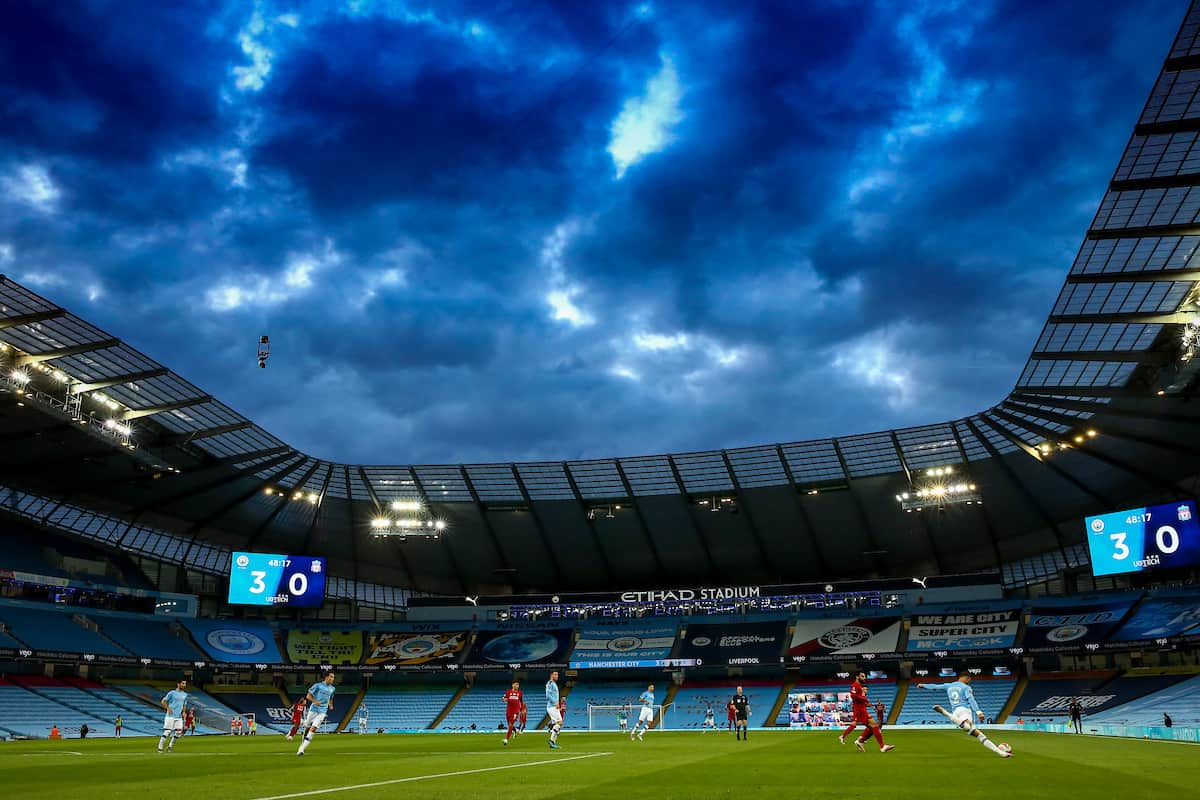 MANCHESTER, ENGLAND - Thursday, July 2, 2020: A general view during the FA Premier League match between Manchester City FC and Liverpool FC at the City of Manchester Stadium. The game was played behind closed doors due to the UK government's social distancing laws during the Coronavirus COVID-19 Pandemic. This was Liverpool's first game as Premier League 2019/20 Champions. (Pic by Propaganda)