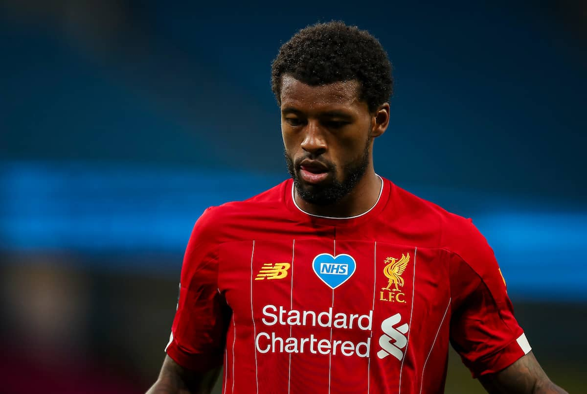 MANCHESTER, ENGLAND - Thursday, July 2, 2020: Liverpool's Georginio Wijnaldum looks dejected during the FA Premier League match between Manchester City FC and Liverpool FC at the City of Manchester Stadium. The game was played behind closed doors due to the UK government's social distancing laws during the Coronavirus COVID-19 Pandemic. This was Liverpool's first game as Premier League 2019/20 Champions. (Pic by Propaganda)