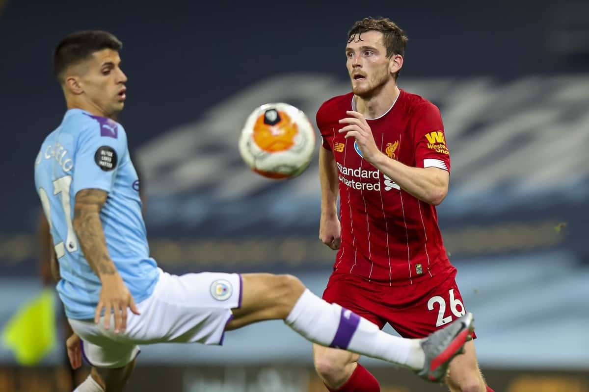 MANCHESTER, ENGLAND - Thursday, July 2, 2020: Liverpool's Andy Robertson during the FA Premier League match between Manchester City FC and Liverpool FC at the City of Manchester Stadium. The game was played behind closed doors due to the UK government's social distancing laws during the Coronavirus COVID-19 Pandemic. This was Liverpool's first game as Premier League 2019/20 Champions. (Pic by Propaganda)
