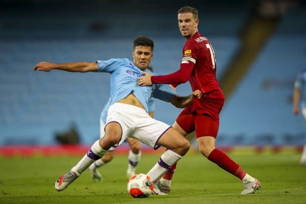 MANCHESTER, ENGLAND - Thursday, July 2, 2020: Liverpool's captain Jordan Henderson (R) challenges Manchester City's Eric García during the FA Premier League match between Manchester City FC and Liverpool FC at the City of Manchester Stadium. The game was played behind closed doors due to the UK government's social distancing laws during the Coronavirus COVID-19 Pandemic. This was Liverpool's first game as Premier League 2019/20 Champions. (Pic by Propaganda)