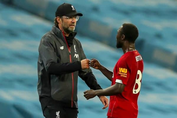 MANCHESTER, ENGLAND - Thursday, July 2, 2020: Liverpool's manager Jürgen Klopp with Naby Keita after the FA Premier League match between Manchester City FC and Liverpool FC at the City of Manchester Stadium. The game was played behind closed doors due to the UK government's social distancing laws during the Coronavirus COVID-19 Pandemic. This was Liverpool's first game as Premier League 2019/20 Champions. Manchester City won 4-0. (Pic by Propaganda)