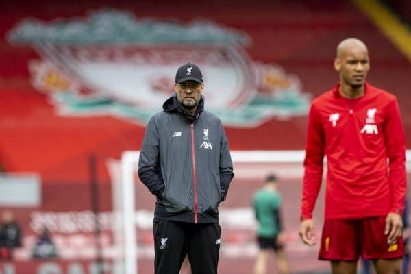 LIVERPOOL, ENGLAND - Sunday, July 5, 2020: Liverpool's manager Jürgen Klopp (L) and Fabio Henrique Tavares 'Fabinho' before the FA Premier League match between Liverpool FC and Aston Villa FC at Anfield. The game was played behind closed doors due to the UK government's social distancing laws during the Coronavirus COVID-19 Pandemic. (Pic by David Rawcliffe/Propaganda)
