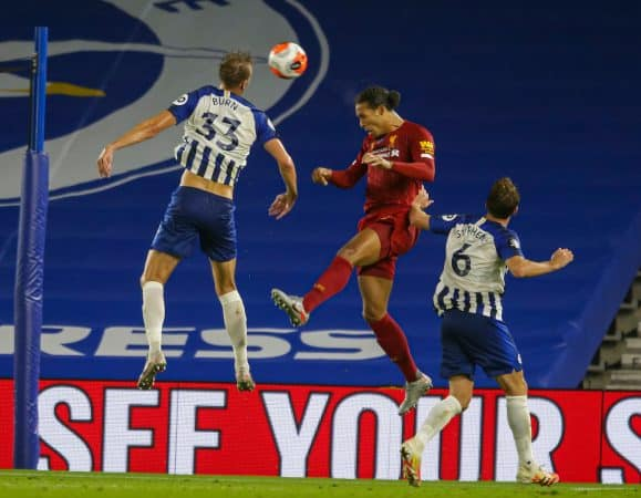 BRIGHTON & HOVE, ENGLAND - Wednesday, July 8, 2020: Liverpool's Virgil van Dijk during the FA Premier League match between Brighton & Hove Albion FC and Liverpool FC at the AMEX Stadium. The game was played behind closed doors due to the UK government's social distancing laws during the Coronavirus COVID-19 Pandemic. (Pic by Propaganda)