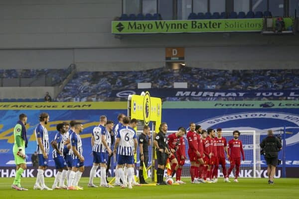BRIGHTON & HOVE, ENGLAND - Wednesday, July 8, 2020: Brighton & Hove Albion and Champions Liverpool line-up before the FA Premier League match between Brighton & Hove Albion FC and Liverpool FC at the AMEX Stadium. The game was played behind closed doors due to the UK government's social distancing laws during the Coronavirus COVID-19 Pandemic. (Pic by Propaganda)