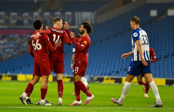 Liverpool's captain Jordan Henderson (C) celebrates scoring the second goal during the FA Premier League match between Brighton & Hove Albion FC and Liverpool FC at the AMEX Stadium. The game was played behind closed doors due to the UK government's social distancing laws during the Coronavirus COVID-19 Pandemic. (Pic by Propaganda)