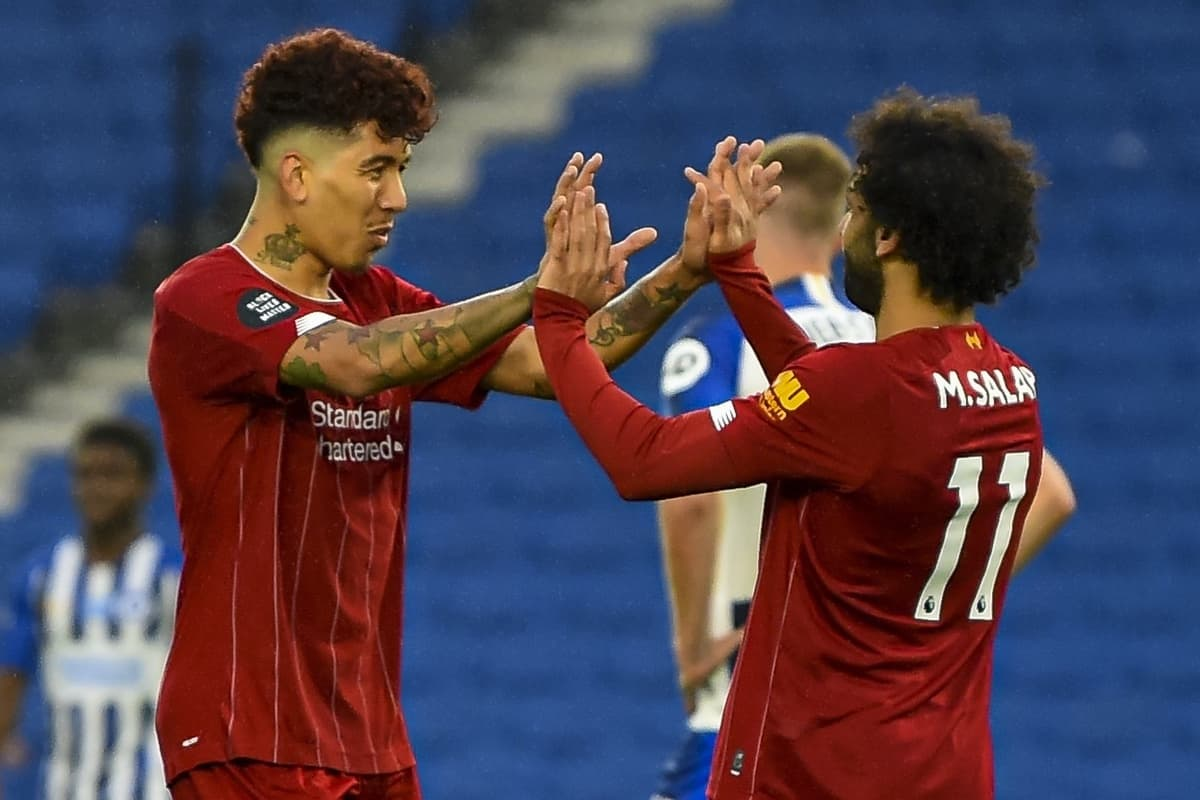 BRIGHTON & HOVE, ENGLAND - Wednesday, July 8, 2020: Liverpool's Mohamed Salah (R) celebrates scoring the first goal with team-mate Roberto Firmino during the FA Premier League match between Brighton & Hove Albion FC and Liverpool FC at the AMEX Stadium. The game was played behind closed doors due to the UK government's social distancing laws during the Coronavirus COVID-19 Pandemic. (Pic by Propaganda)