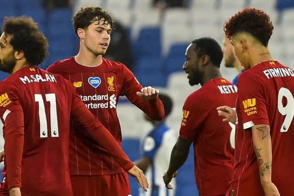 BRIGHTON & HOVE, ENGLAND - Wednesday, July 8, 2020: Liverpool's Mohamed Salah (#11) celebrates scoring the first goal with team-mate Neco Williams during the FA Premier League match between Brighton & Hove Albion FC and Liverpool FC at the AMEX Stadium. The game was played behind closed doors due to the UK government's social distancing laws during the Coronavirus COVID-19 Pandemic. (Pic by Propaganda)