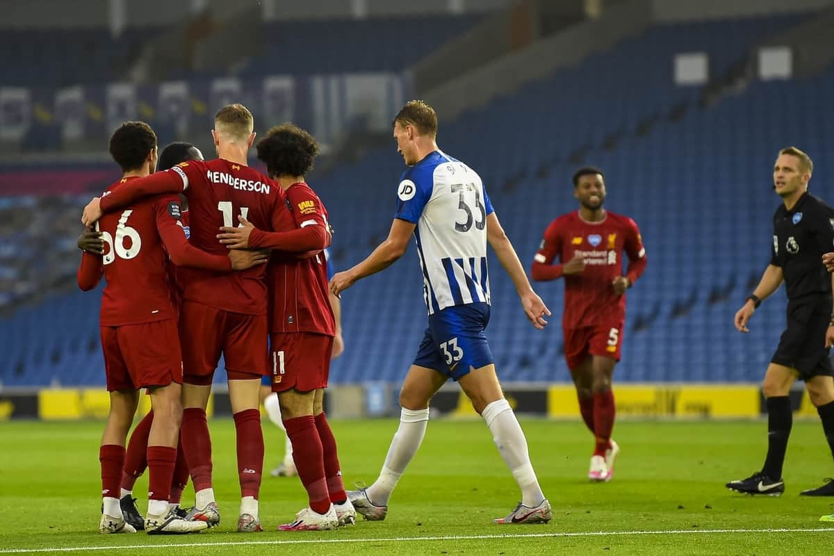 BRIGHTON & HOVE, ENGLAND - Wednesday, July 8, 2020: Liverpool's captain Jordan Henderson celebrates scoring the second goal during the FA Premier League match between Brighton & Hove Albion FC and Liverpool FC at the AMEX Stadium. The game was played behind closed doors due to the UK government's social distancing laws during the Coronavirus COVID-19 Pandemic. (Pic by Propaganda)