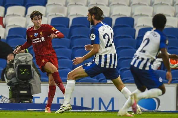 BRIGHTON & HOVE, ENGLAND - Wednesday, July 8, 2020: Liverpool's Neco Williams during the FA Premier League match between Brighton & Hove Albion FC and Liverpool FC at the AMEX Stadium. The game was played behind closed doors due to the UK government's social distancing laws during the Coronavirus COVID-19 Pandemic. (Pic by Propaganda)