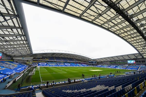 A general view of the American Express Community Stadium ahead of the FA Premier League match between Brighton & Hove Albion FC and Liverpool FC at the AMEX Stadium. The game was played behind closed doors due to the UK government's social distancing laws during the Coronavirus COVID-19 Pandemic. (Pic by David Rawcliffe/Propaganda)