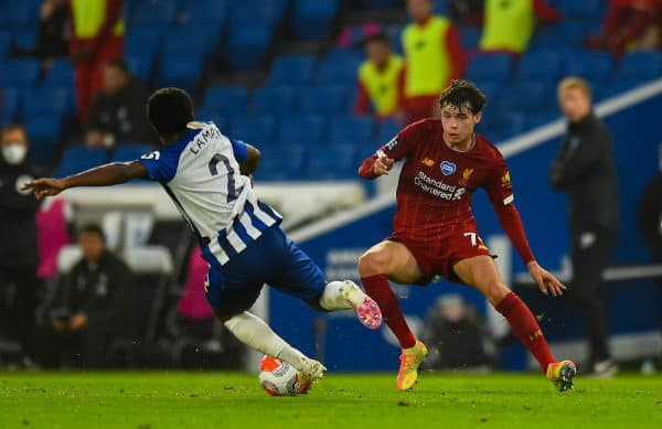 Liverpool's Neco Williams during the FA Premier League match between Brighton & Hove Albion FC and Liverpool FC at the AMEX Stadium. The game was played behind closed doors due to the UK government's social distancing laws during the Coronavirus COVID-19 Pandemic. (Pic by Propaganda)