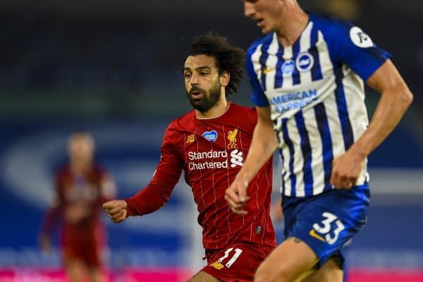 BRIGHTON & HOVE, ENGLAND - Wednesday, July 8, 2020: Liverpool's Mohamed Salah during the FA Premier League match between Brighton & Hove Albion FC and Liverpool FC at the AMEX Stadium. The game was played behind closed doors due to the UK government's social distancing laws during the Coronavirus COVID-19 Pandemic. (Pic by Propaganda)