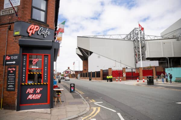 LIVERPOOL, ENGLAND - Saturday, July 11, 2020: Empty streets outside the Spion Kop at Anfield ahead of the FA Premier League match between Liverpool FC and Burnley FC at Anfield. The game was played behind closed doors due to the UK government's social distancing laws during the Coronavirus COVID-19 Pandemic. (Pic by David Rawcliffe/Propaganda)