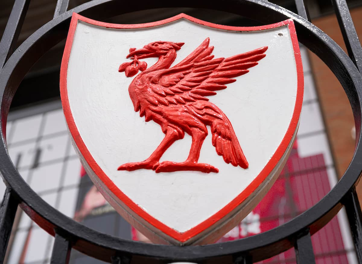 LIVERPOOL, ENGLAND - Saturday, July 11, 2020: A Liver Bird crest on the Paisley Gates pictured before the FA Premier League match between Liverpool FC and Burnley FC at Anfield. The game was played behind closed doors due to the UK government's social distancing laws during the Coronavirus COVID-19 Pandemic. (Pic by David Rawcliffe/Propaganda)