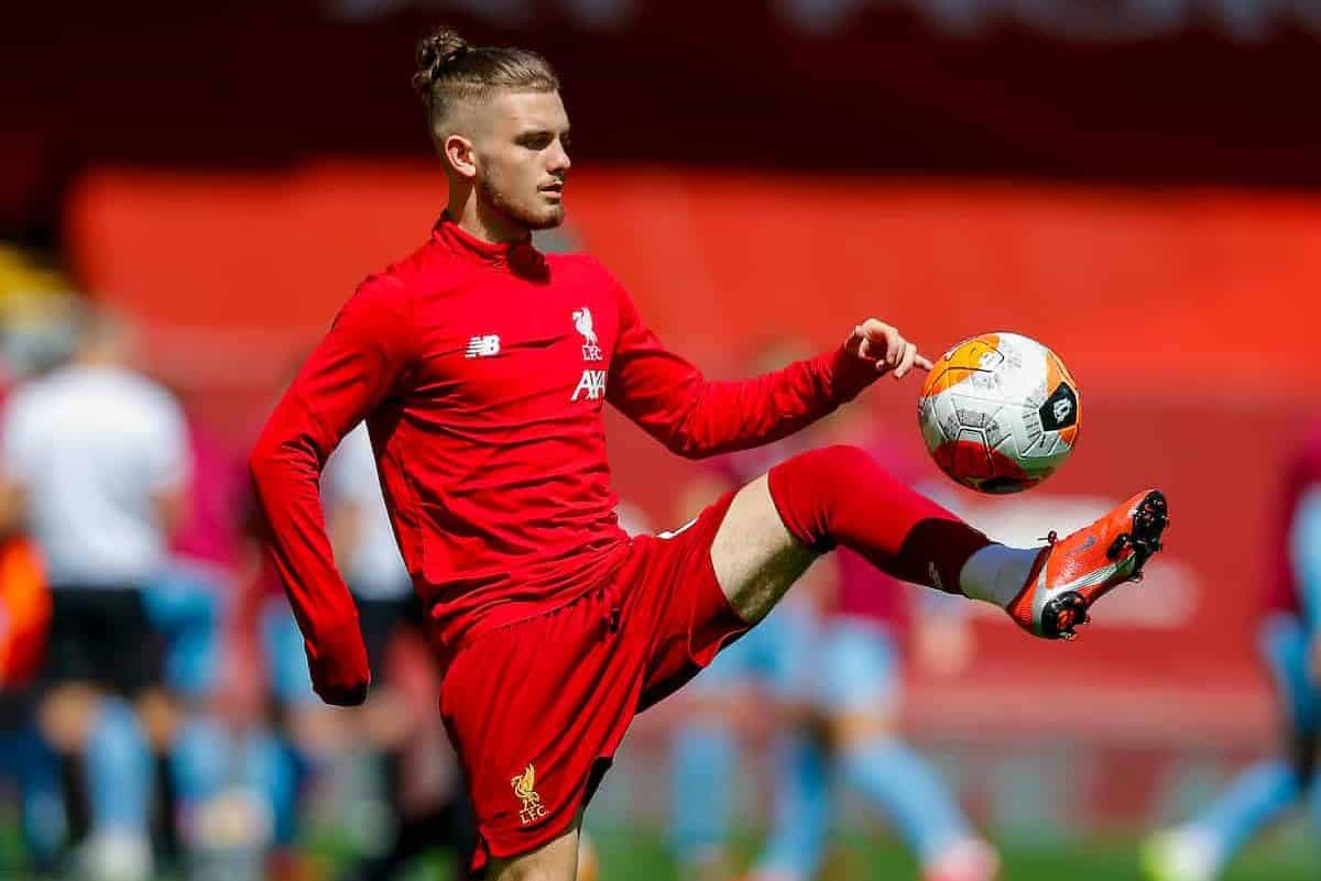 LIVERPOOL, ENGLAND - Saturday, July 11, 2020: Liverpool's Harvey Elliott during the pre-match warm-up before the FA Premier League match between Liverpool FC and Burnley FC at Anfield. The game was played behind closed doors due to the UK government's social distancing laws during the Coronavirus COVID-19 Pandemic. (Pic by Propaganda)