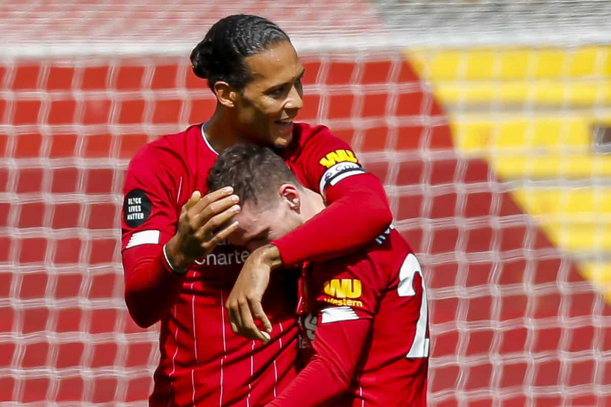 LIVERPOOL, ENGLAND - Saturday, July 11, 2020: Liverpool's Andy Robertson (R) celebrates scoring the first goal with team-mate Virgil van Dijk during the FA Premier League match between Liverpool FC and Burnley FC at Anfield. The game was played behind closed doors due to the UK government's social distancing laws during the Coronavirus COVID-19 Pandemic. (Pic by Propaganda)