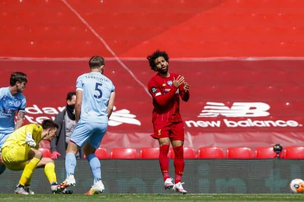 LIVERPOOL, ENGLAND - Saturday, July 11, 2020: Liverpool's Mohamed Salah looks dejected after missing a chance during the FA Premier League match between Liverpool FC and Burnley FC at Anfield. The game was played behind closed doors due to the UK government's social distancing laws during the Coronavirus COVID-19 Pandemic. (Pic by Propaganda)