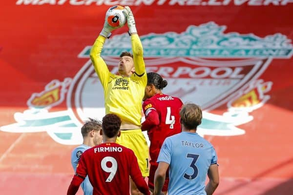 LIVERPOOL, ENGLAND - Saturday, July 11, 2020: Burnley's goalkeeper Nick Pope catches the ball during the FA Premier League match between Liverpool FC and Burnley FC at Anfield. The game was played behind closed doors due to the UK government's social distancing laws during the Coronavirus COVID-19 Pandemic. (Pic by Propaganda)
