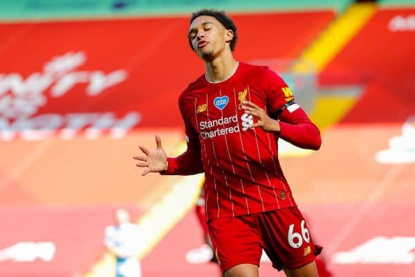 LIVERPOOL, ENGLAND - Saturday, July 11, 2020: Liverpool's Trent Alexander-Arnold looks dejected after missing a chance during the FA Premier League match between Liverpool FC and Burnley FC at Anfield. The game was played behind closed doors due to the UK government's social distancing laws during the Coronavirus COVID-19 Pandemic. (Pic by Propaganda)
