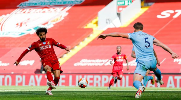 LIVERPOOL, ENGLAND - Saturday, July 11, 2020: Liverpool's Mohamed Salah sees his shot saved during the FA Premier League match between Liverpool FC and Burnley FC at Anfield. The game was played behind closed doors due to the UK government's social distancing laws during the Coronavirus COVID-19 Pandemic. (Pic by Propaganda)
