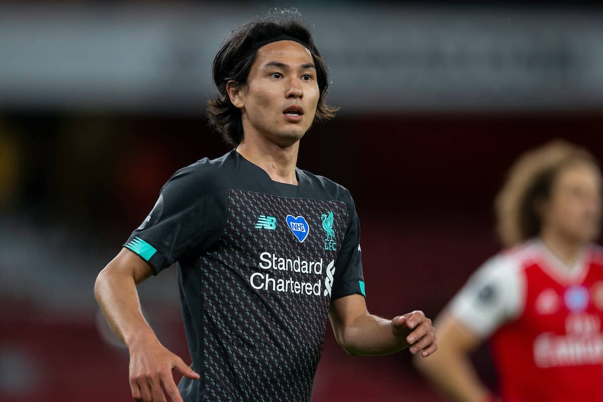 LONDON, ENGLAND - Tuesday, July 14, 2020: Liverpool's Takumi Minamino during the FA Premier League match between Arsenal FC and Liverpool FC at the Emirates Stadium. The game was played behind closed doors due to the UK government's social distancing laws during the Coronavirus COVID-19 Pandemic. Arsenal won 2-1. (Pic by David Rawcliffe/Propaganda)