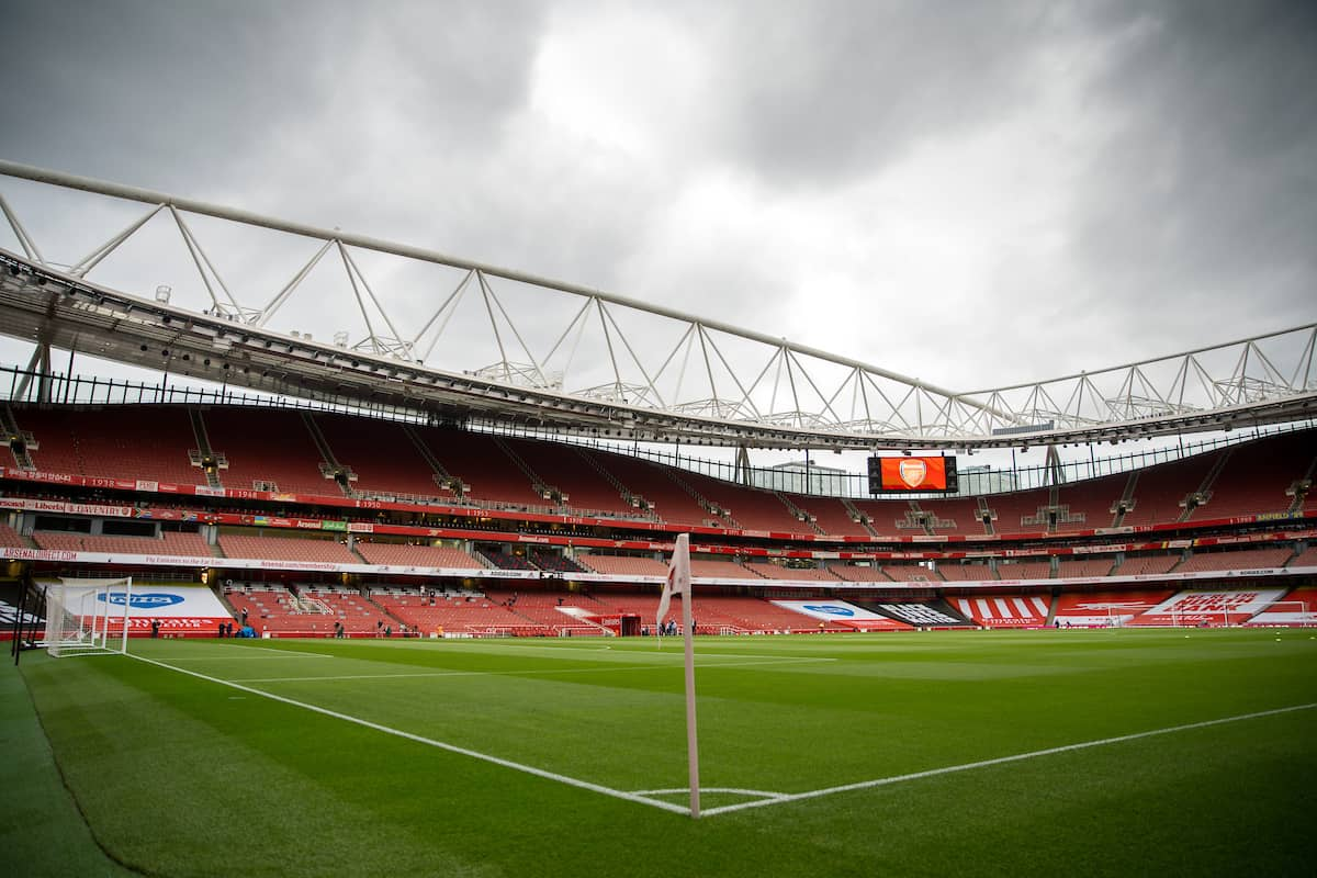 LONDON, ENGLAND - Tuesday, July 14, 2020: A general view before the FA Premier League match between Arsenal FC and Liverpool FC at the Emirates Stadium. The game was played behind closed doors due to the UK government's social distancing laws during the Coronavirus COVID-19 Pandemic. (Pic by David Rawcliffe/Propaganda)