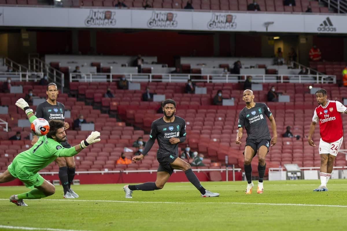 LONDON, ENGLAND - Tuesday, July 14, 2020: Arsenal's Reiss Nelson scores the second goal during the FA Premier League match between Arsenal FC and Liverpool FC at the Emirates Stadium. The game was played behind closed doors due to the UK government's social distancing laws during the Coronavirus COVID-19 Pandemic. (Pic by David Rawcliffe/Propaganda)