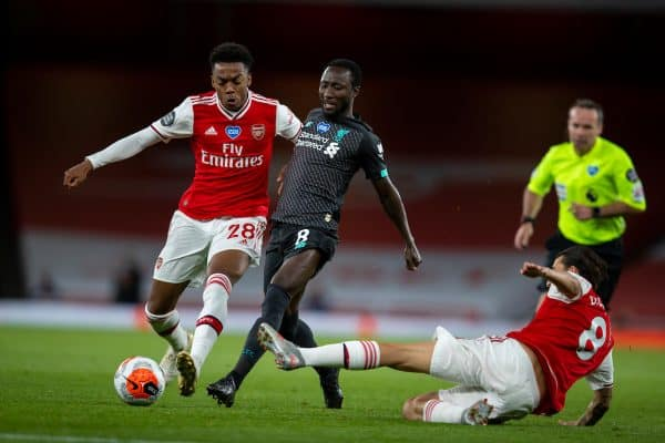 LONDON, ENGLAND - Tuesday, July 14, 2020: Liverpool's Naby Keita (C) and Arsenal's Joe Willock (L) during the FA Premier League match between Arsenal FC and Liverpool FC at the Emirates Stadium. The game was played behind closed doors due to the UK government's social distancing laws during the Coronavirus COVID-19 Pandemic. (Pic by David Rawcliffe/Propaganda)