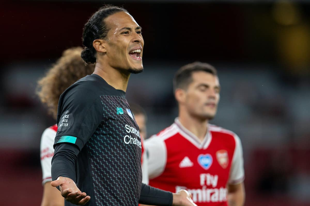LONDON, ENGLAND - Tuesday, July 14, 2020: Liverpool's Virgil van Dijk complains to the referee during the FA Premier League match between Arsenal FC and Liverpool FC at the Emirates Stadium. The game was played behind closed doors due to the UK government's social distancing laws during the Coronavirus COVID-19 Pandemic. (Pic by David Rawcliffe/Propaganda)