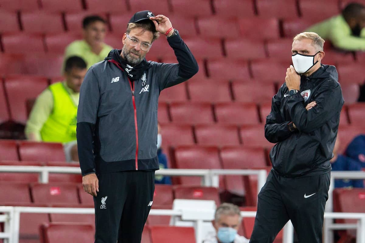 LONDON, ENGLAND - Tuesday, July 14, 2020: Liverpool's manager Jürgen Klopp reacts during the FA Premier League match between Arsenal FC and Liverpool FC at the Emirates Stadium. The game was played behind closed doors due to the UK government's social distancing laws during the Coronavirus COVID-19 Pandemic. Arsenal won 2-1. (Pic by David Rawcliffe/Propaganda)