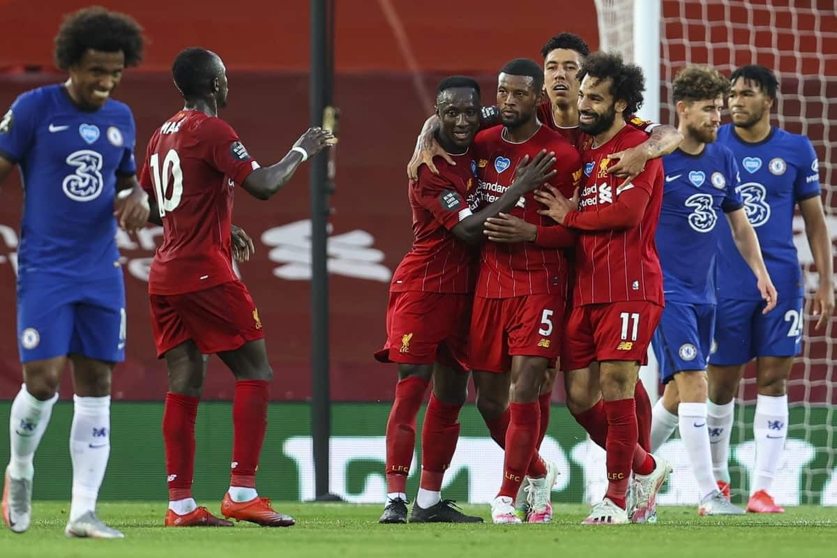 LIVERPOOL, ENGLAND - Wednesday, July 22, 2020: Liverpool's Georginio Wijnaldum celebrates scoring the third goal with team-mates during the FA Premier League match between Liverpool FC and Chelsea FC at Anfield. The game was played behind closed doors due to the UK government's social distancing laws during the Coronavirus COVID-19 Pandemic. (Pic by David Rawcliffe/Propaganda)